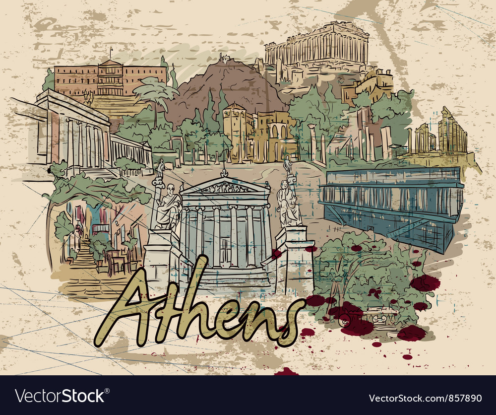 Athens doodles vector | Price: 3 Credit (USD $3)