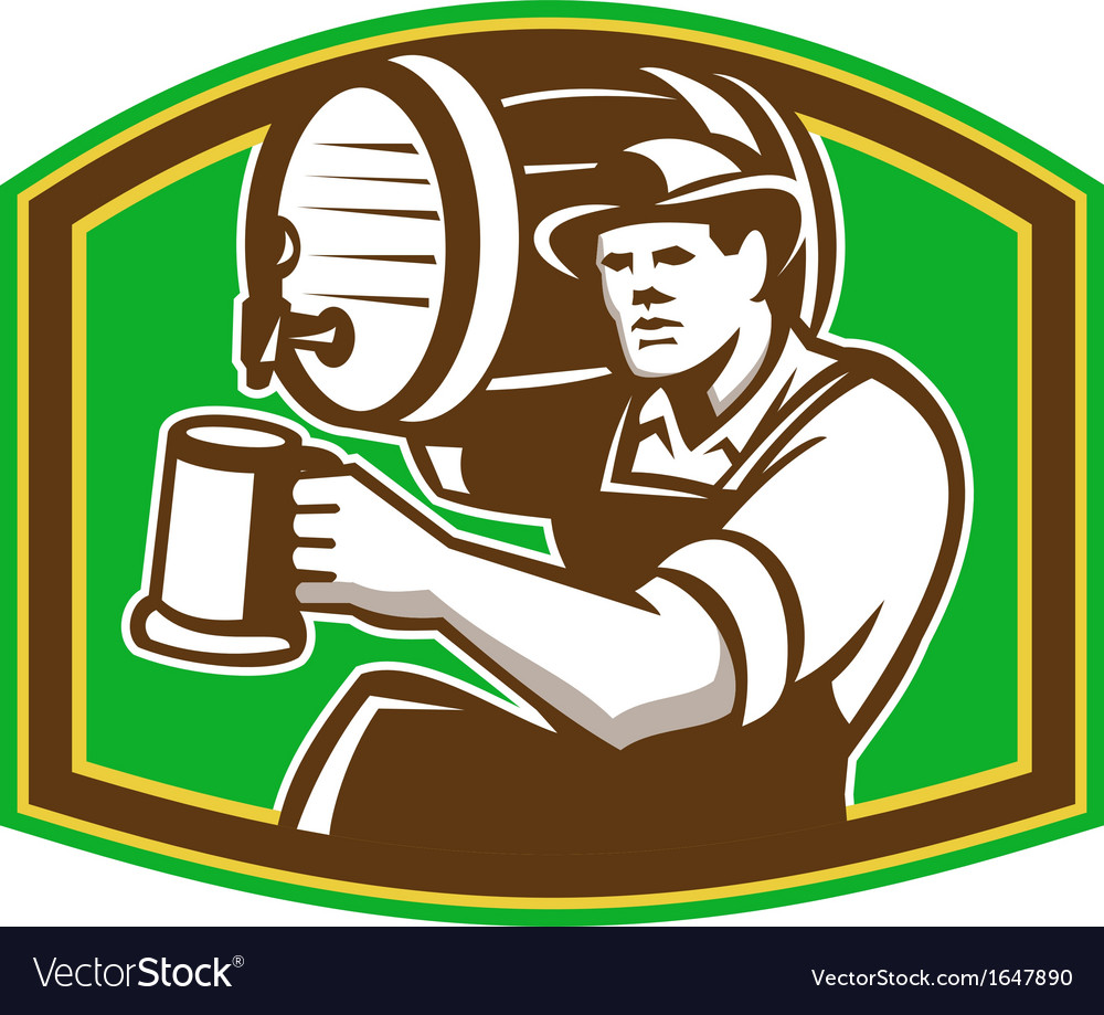 Barman bartender pour beer barrel retro vector | Price: 1 Credit (USD $1)