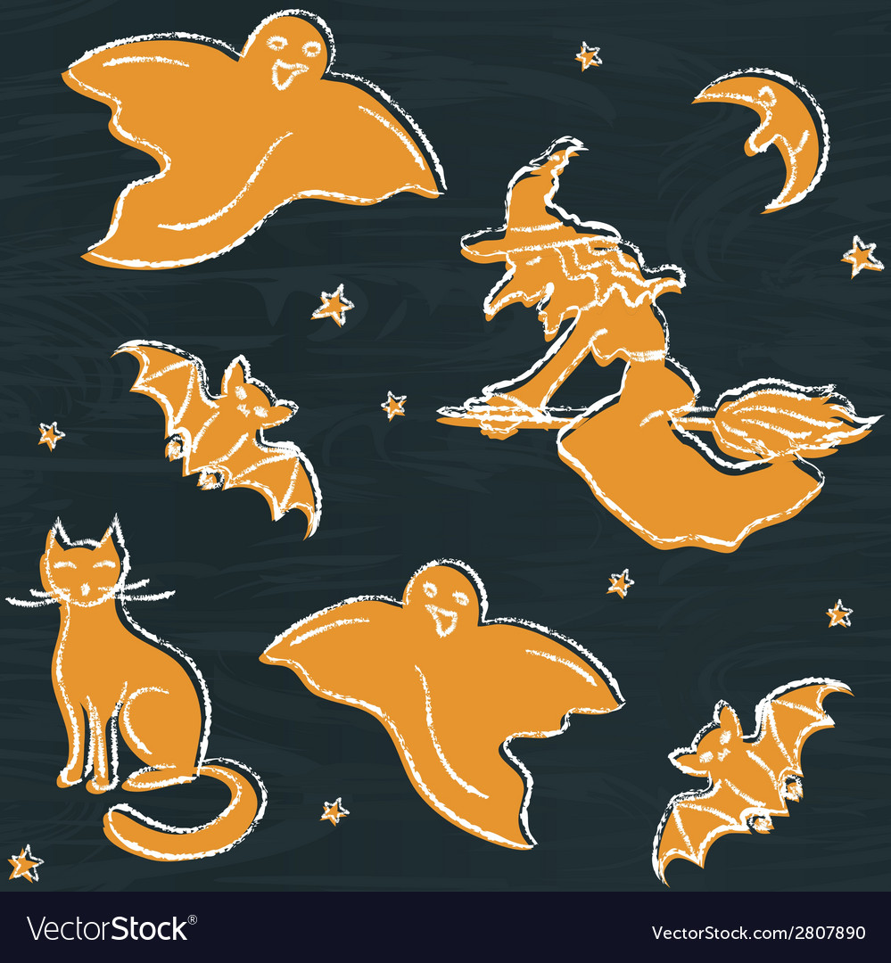 Chalkboard halloween silhouettes pattern vector | Price: 1 Credit (USD $1)