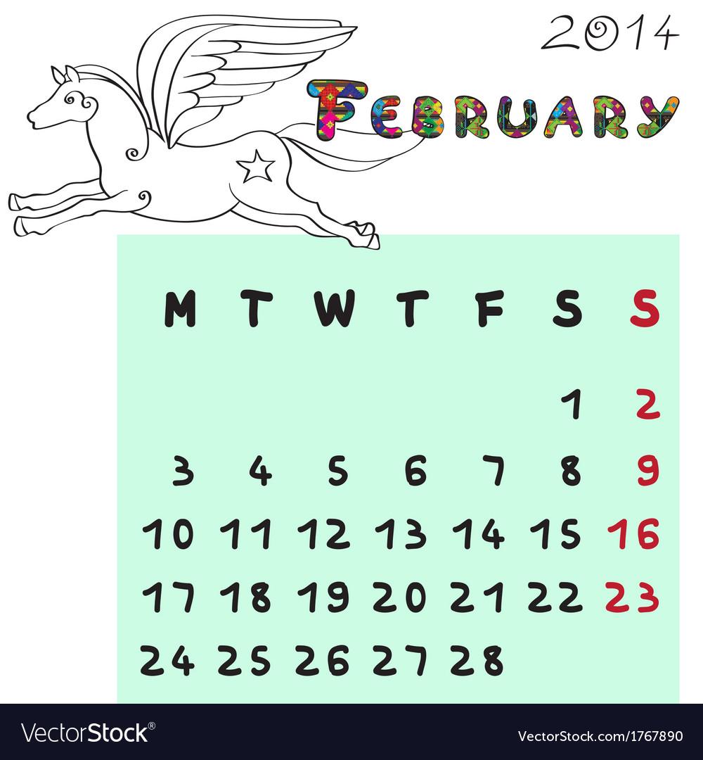 Horse calendar 2014 february vector | Price: 1 Credit (USD $1)