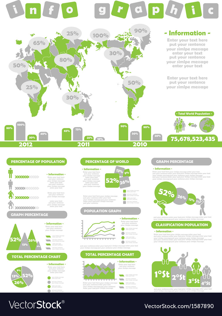 Infographic demographics toy green vector | Price: 1 Credit (USD $1)