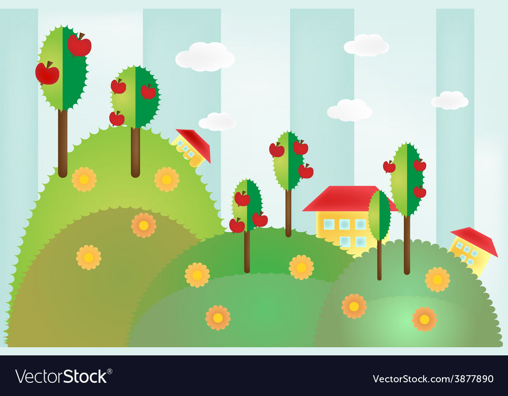 Landscape with hills trees and houses vector | Price: 1 Credit (USD $1)