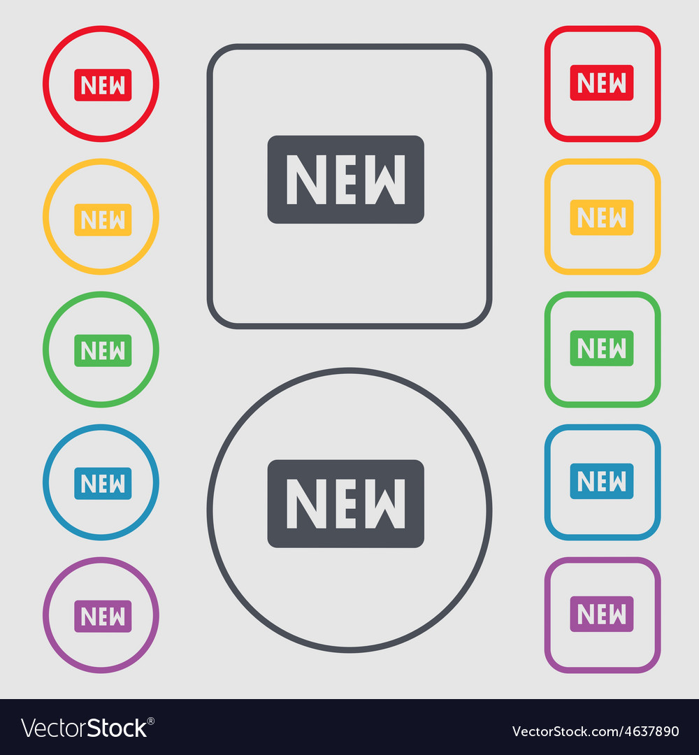 New icon sign symbol on the round and square vector | Price: 1 Credit (USD $1)