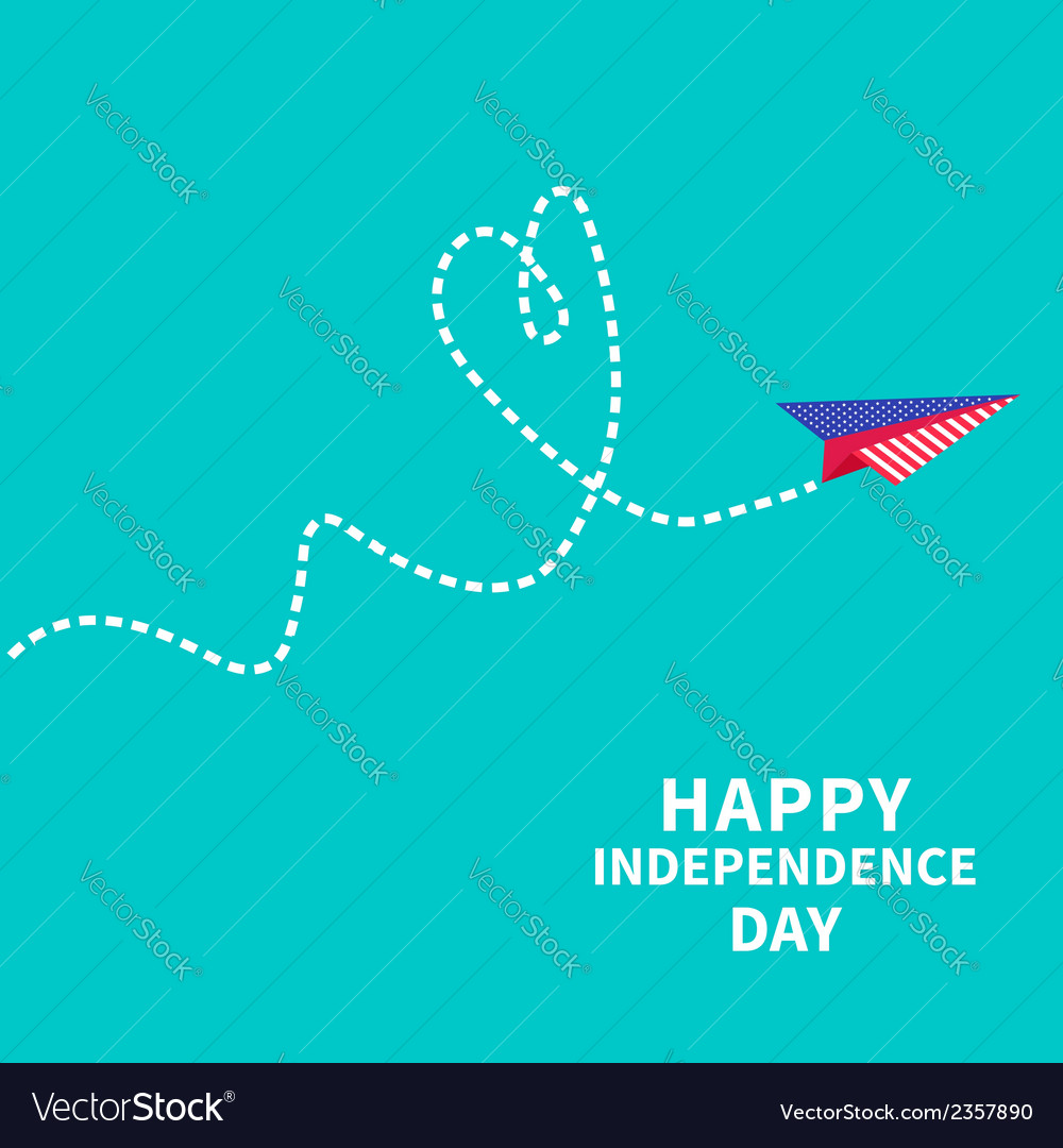 Paper plane with heart dash line happy vector | Price: 1 Credit (USD $1)