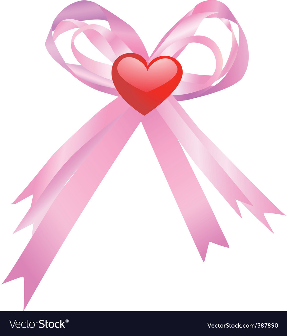 Pink bow and red heart vector   Price: 1 Credit (USD $1)