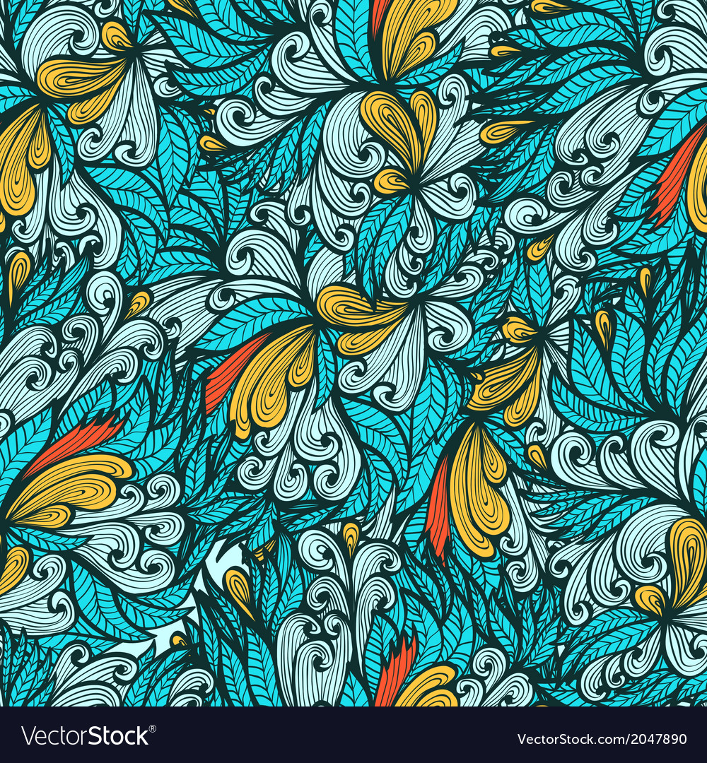 Seamless blue hand drawn floral pattern vector | Price: 1 Credit (USD $1)