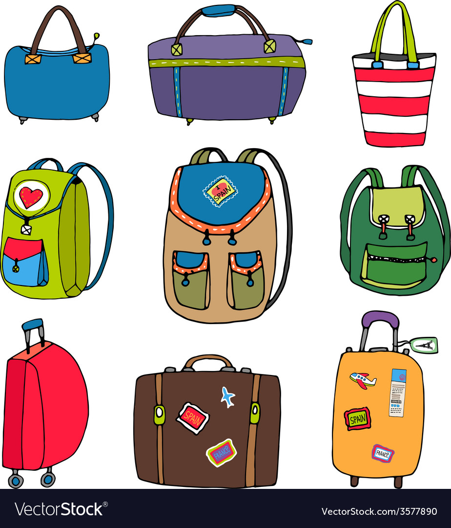 Variety luggage bags backpacks and suitcases vector | Price: 1 Credit (USD $1)