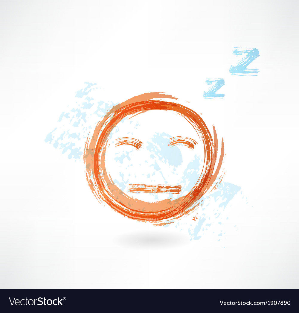 Yellow face with close eyes grunge icon vector | Price: 1 Credit (USD $1)