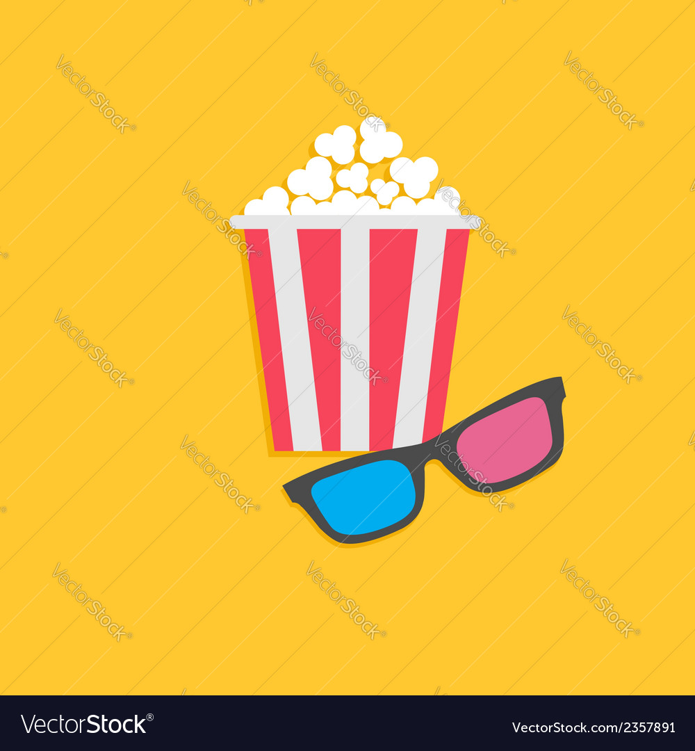 3d glasses and popcorn cinema icon in flat dsign vector | Price: 1 Credit (USD $1)