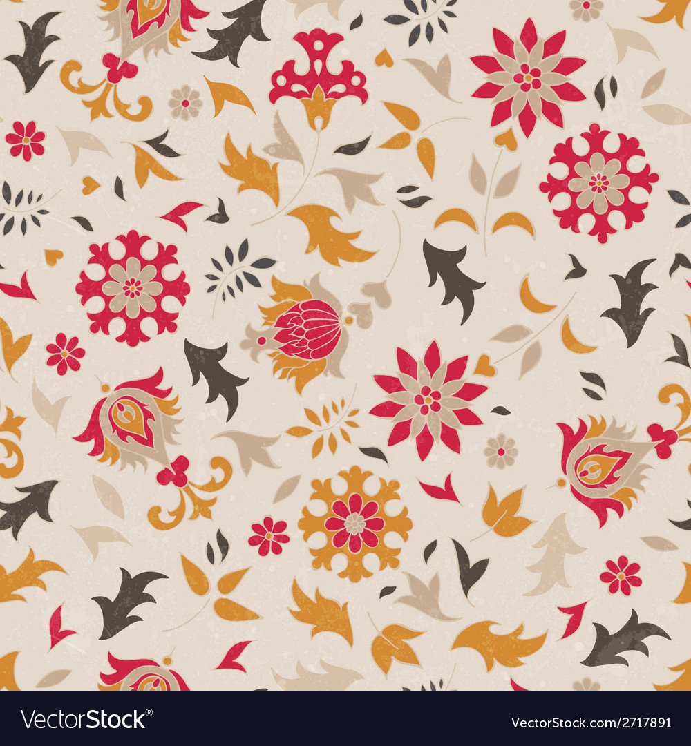 Beautiful seamless pattern with stylized flowers vector | Price: 1 Credit (USD $1)