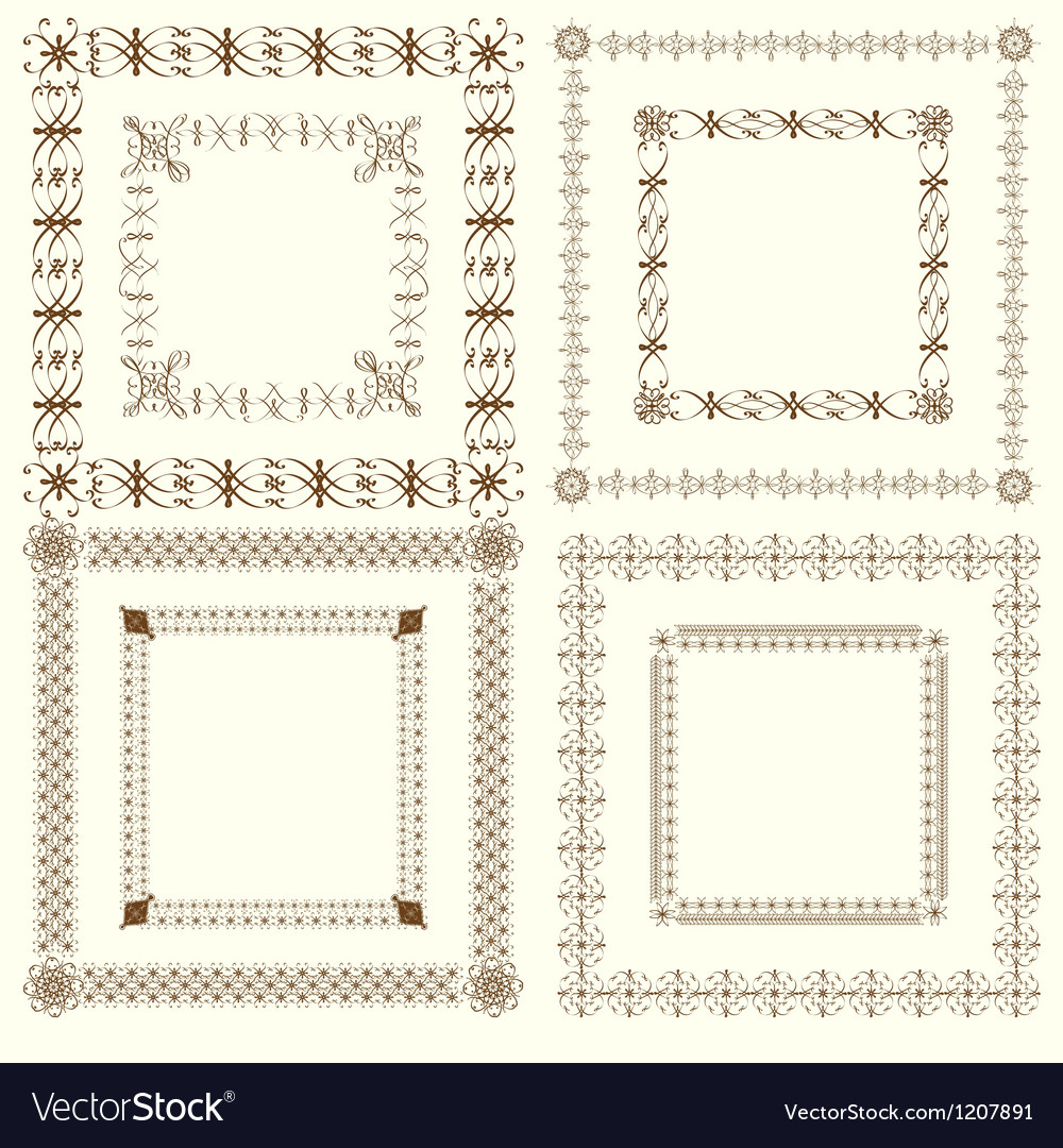 Collection of vintage calligraphic square frames vector | Price: 1 Credit (USD $1)