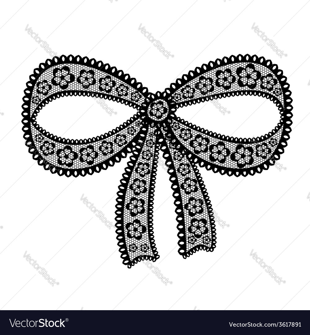 Decorative lacy bow on white background vector | Price: 1 Credit (USD $1)