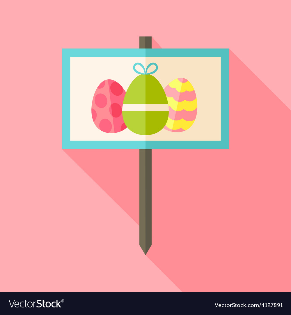 Gardening sign with easter eggs vector | Price: 1 Credit (USD $1)