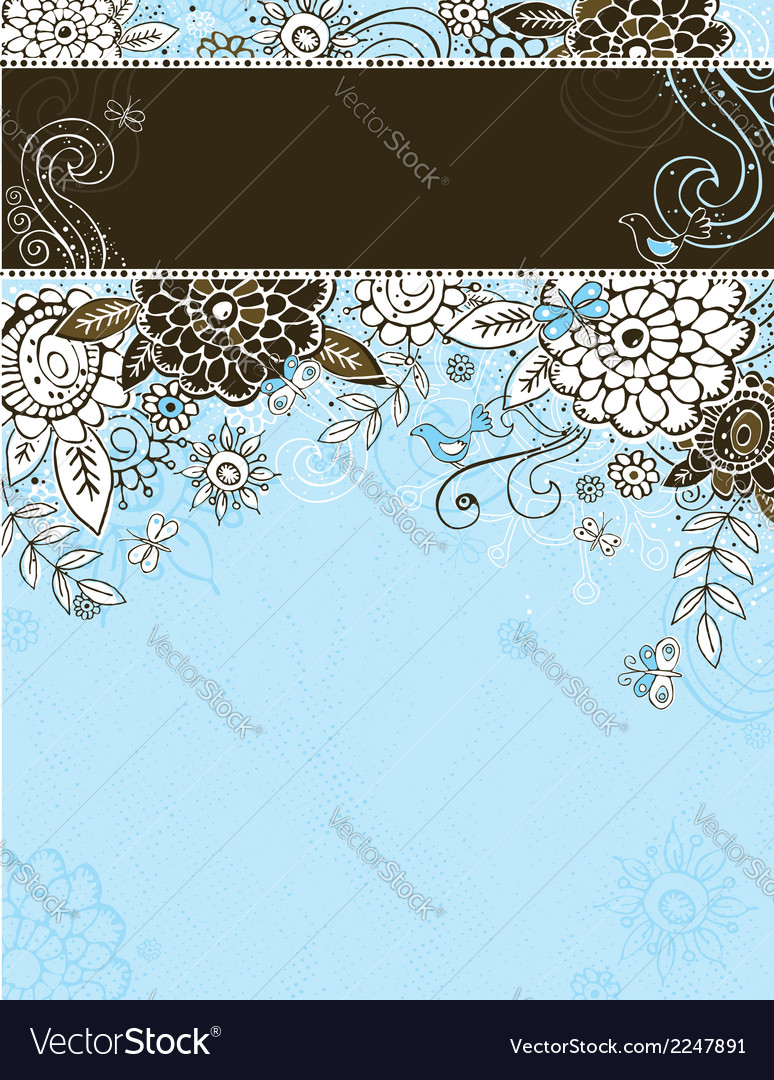 Hand draw flowers on blue background vector | Price: 1 Credit (USD $1)