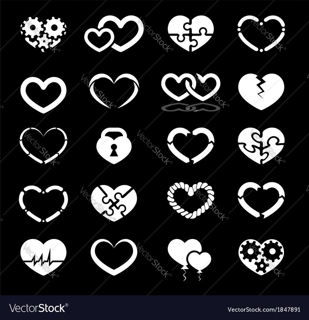 Heart icon set vector | Price: 1 Credit (USD $1)