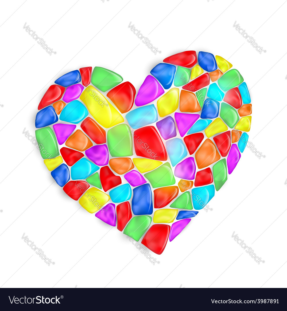 Heart is composed of multi-colored stones vector | Price: 1 Credit (USD $1)