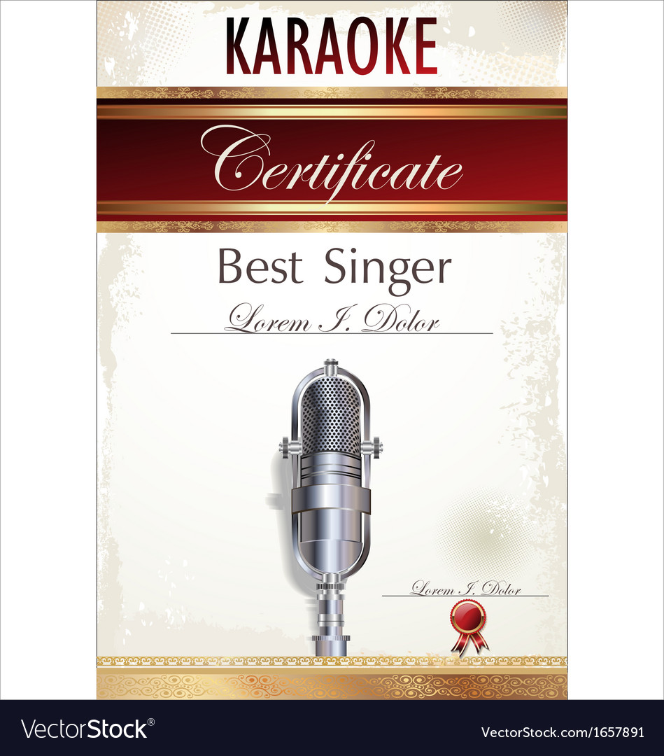 Karaoke certificate template vector | Price: 1 Credit (USD $1)