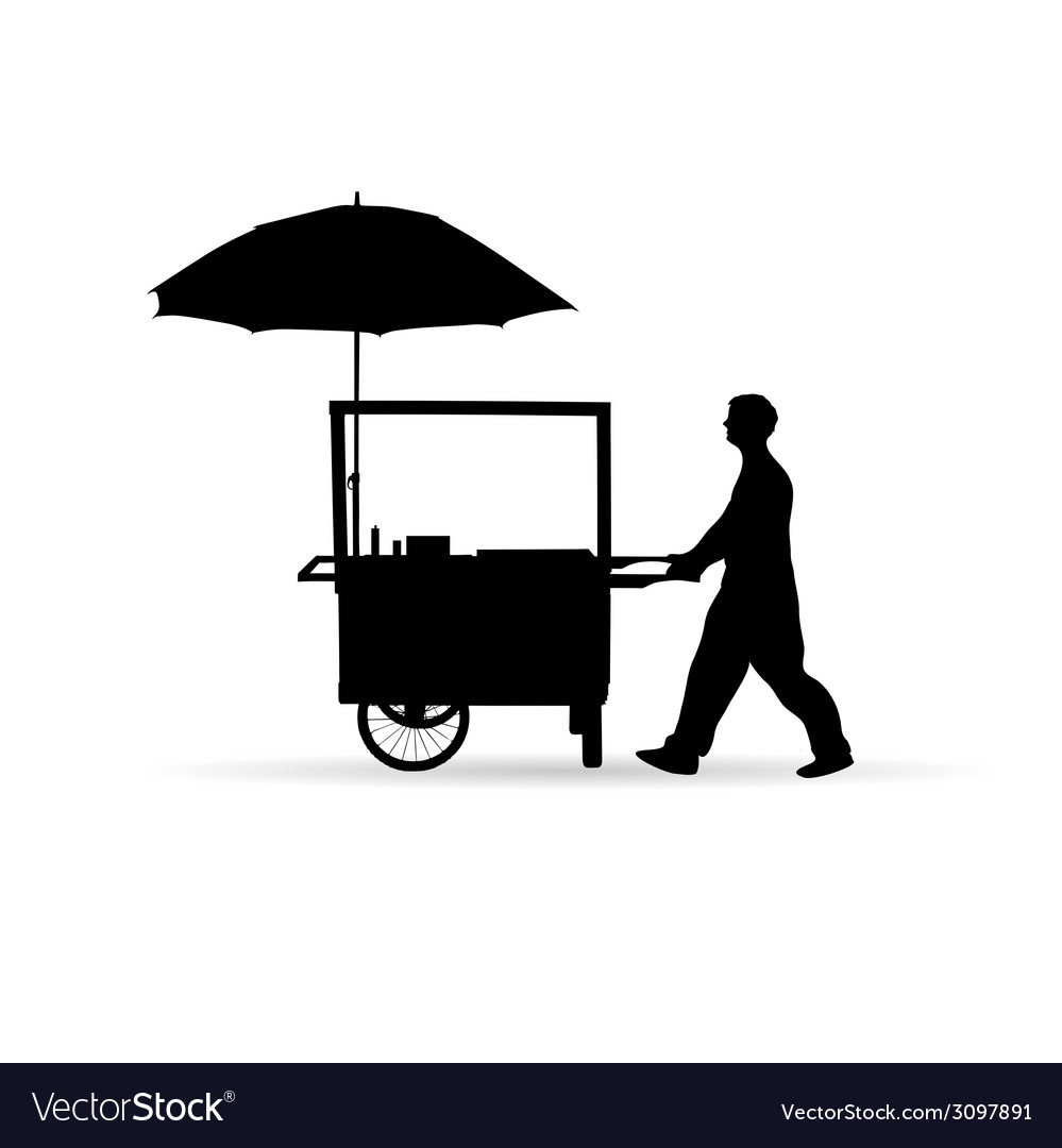 Man sold hot dog silhouette vector | Price: 1 Credit (USD $1)