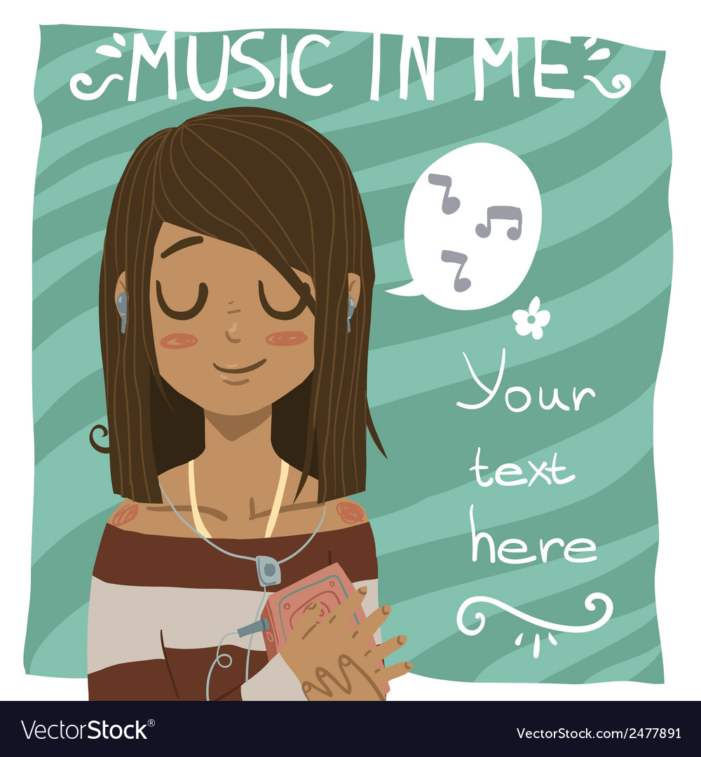 Music in me postcard vector | Price: 1 Credit (USD $1)