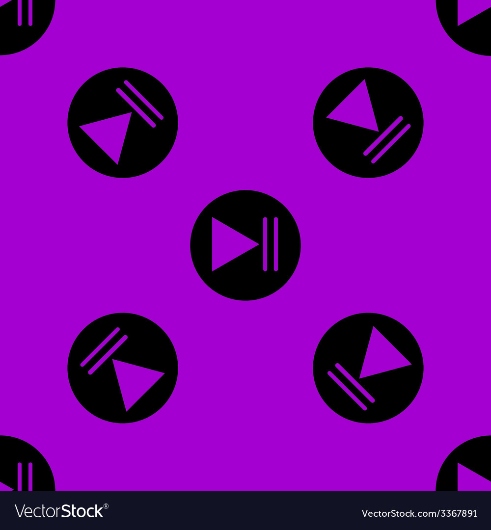 Play button web icon flat design seamless pattern vector | Price: 1 Credit (USD $1)