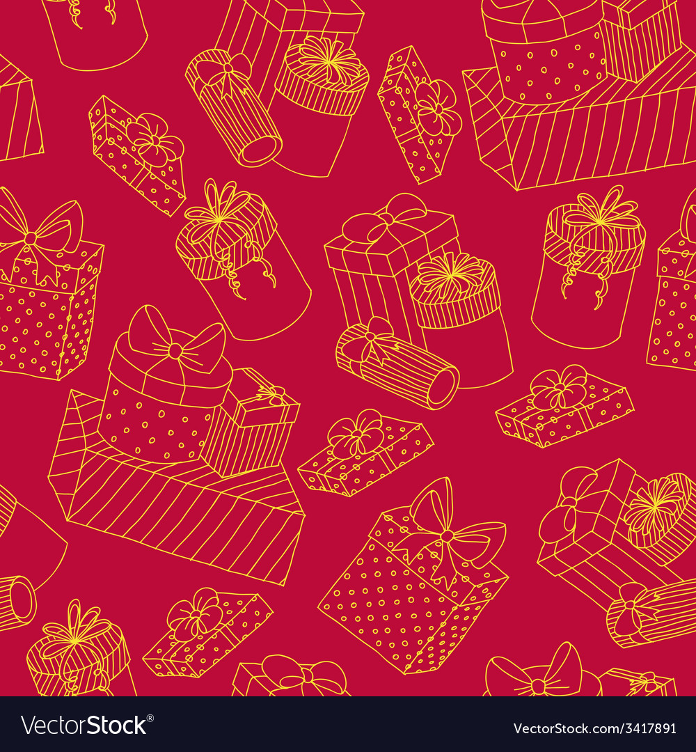 Red seamless pattern with boxes of presents vector | Price: 1 Credit (USD $1)