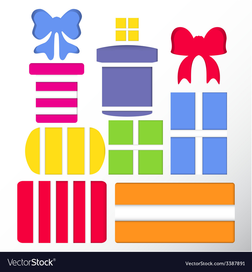 Set of gift boxes and bows vector | Price: 1 Credit (USD $1)