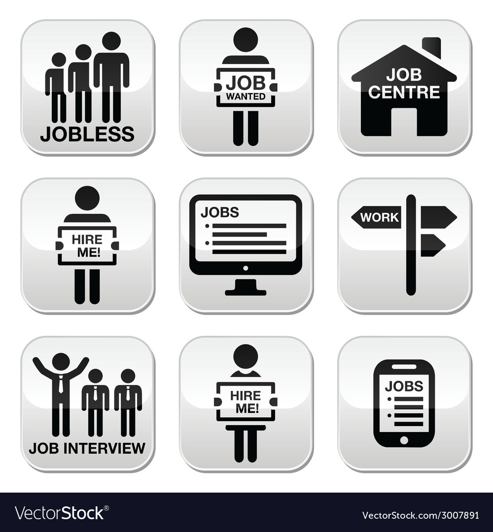 Unemployment job searches buttons set vector | Price: 1 Credit (USD $1)