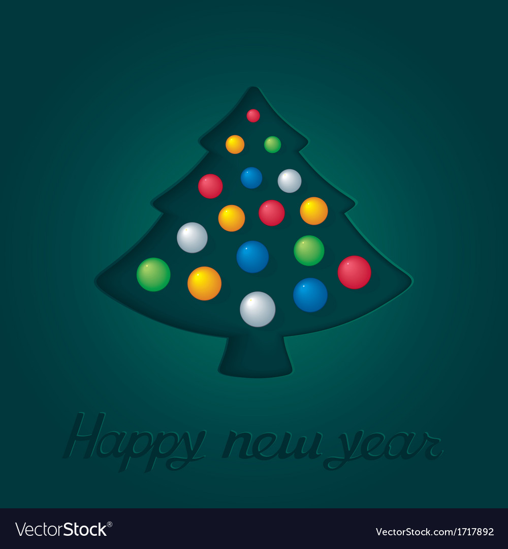 Abstract green fir-tree with christmas toys vector | Price: 1 Credit (USD $1)
