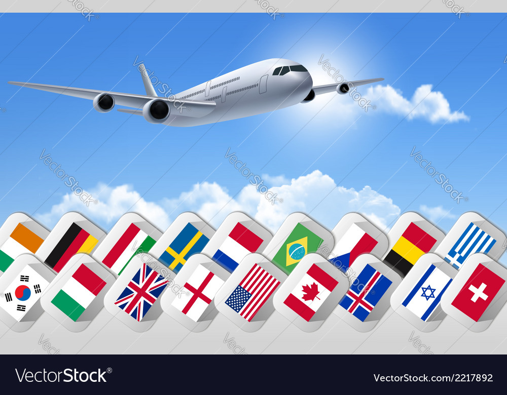 Airplane travel background with flags of different vector | Price: 1 Credit (USD $1)