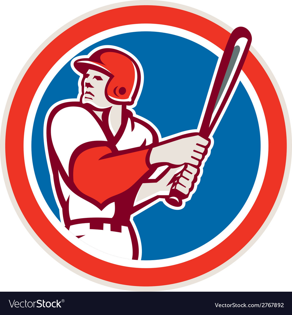 American baseball player batter hitter circle vector | Price: 1 Credit (USD $1)