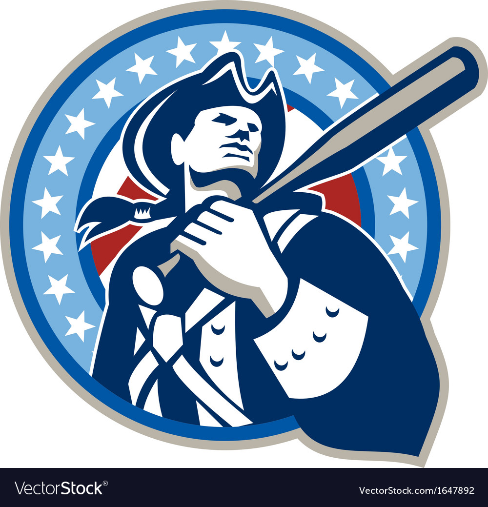 American patriot baseball bat retro vector | Price: 1 Credit (USD $1)