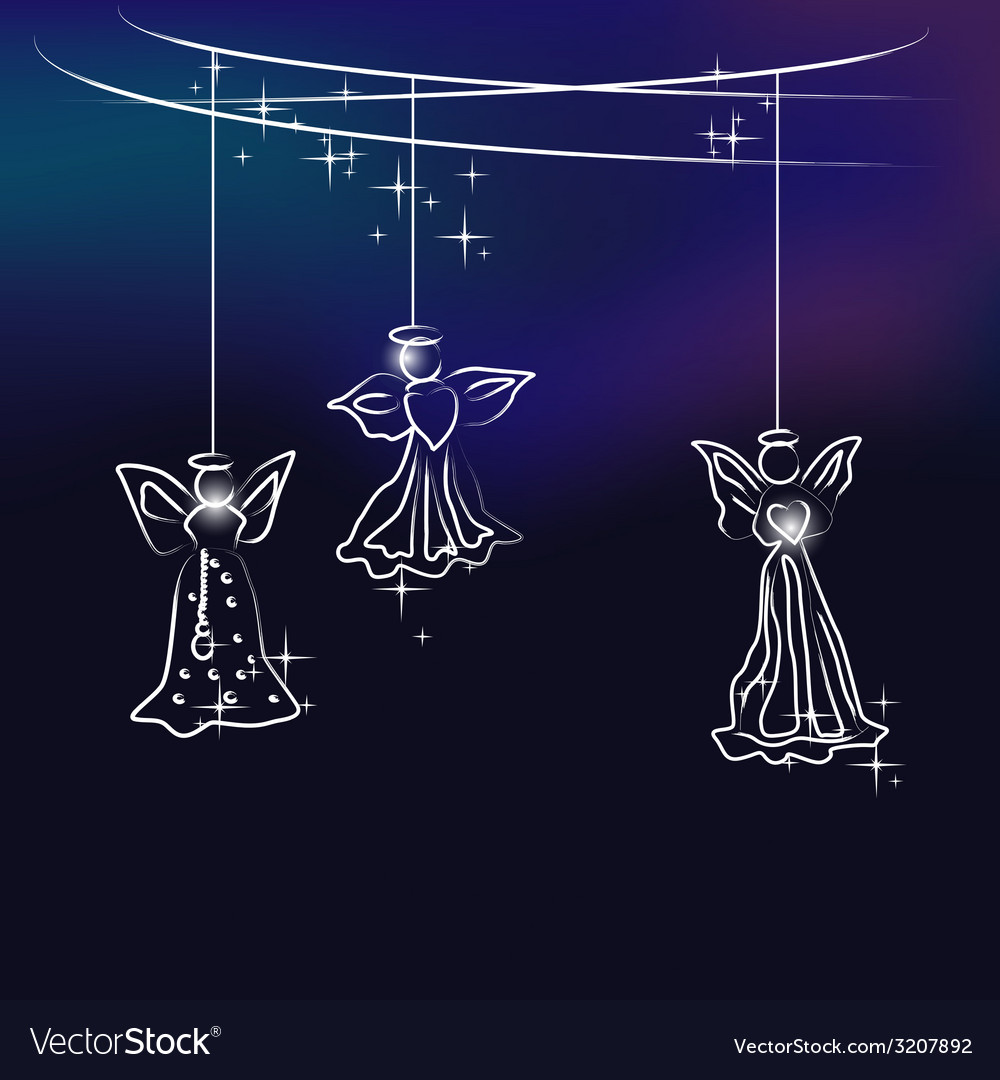 Angels the christmas tree decoration vector | Price: 1 Credit (USD $1)