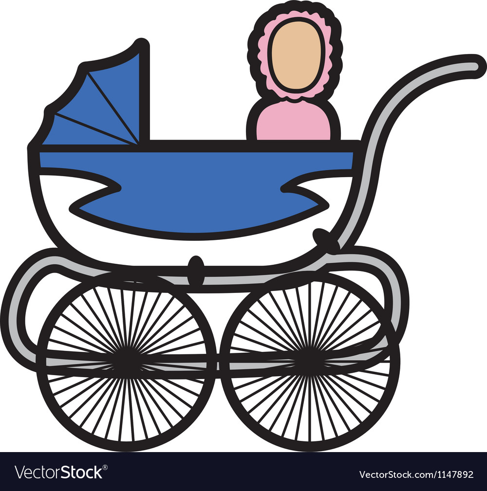 Baby in a pram vector