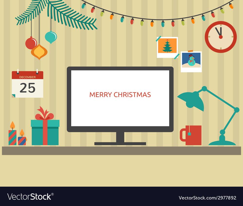 Christmas santas desktop flat design vector   Price: 1 Credit (USD $1)