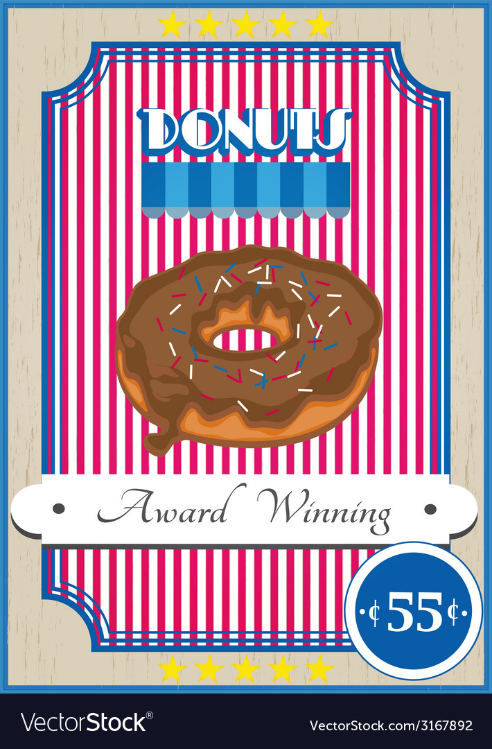 Donut poster vector | Price: 1 Credit (USD $1)