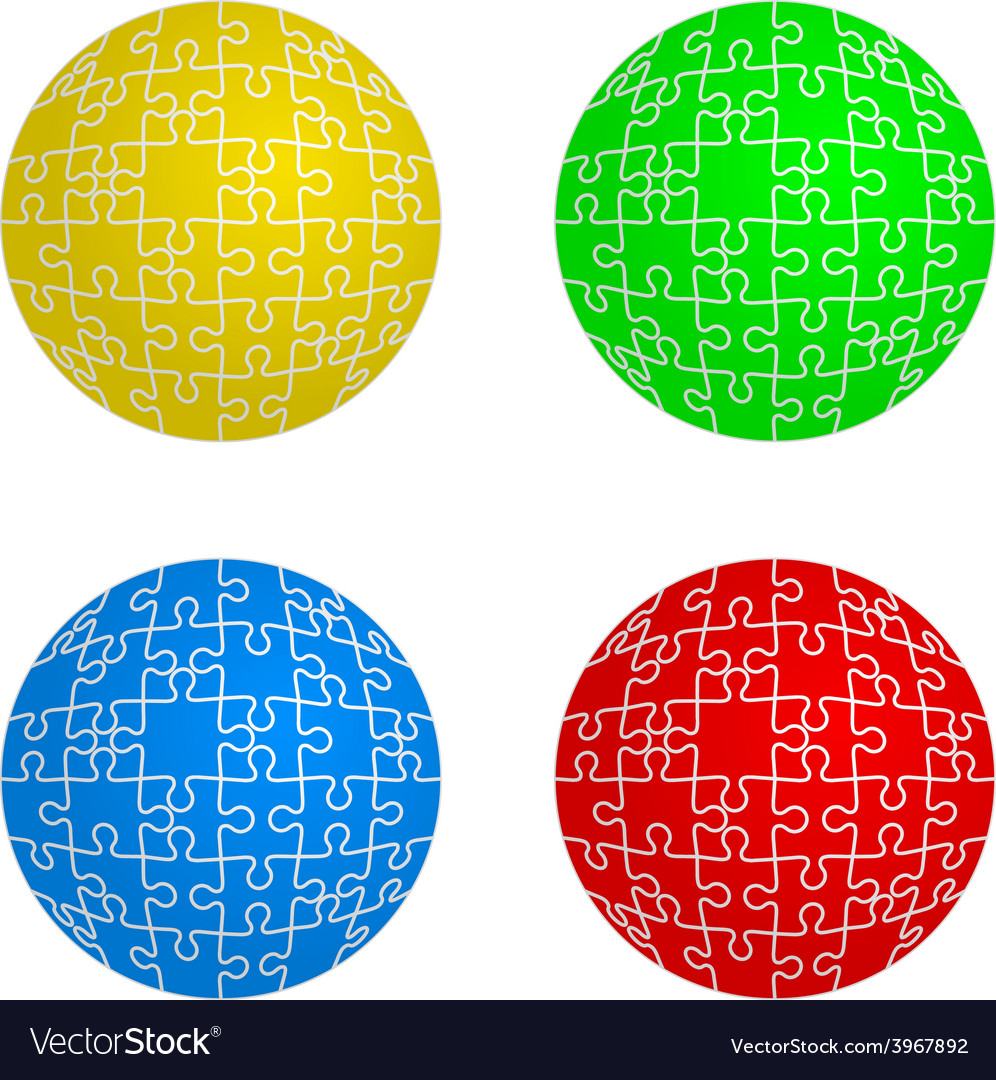 Jigsaw puzzle set form of spheres four colors vector | Price: 1 Credit (USD $1)