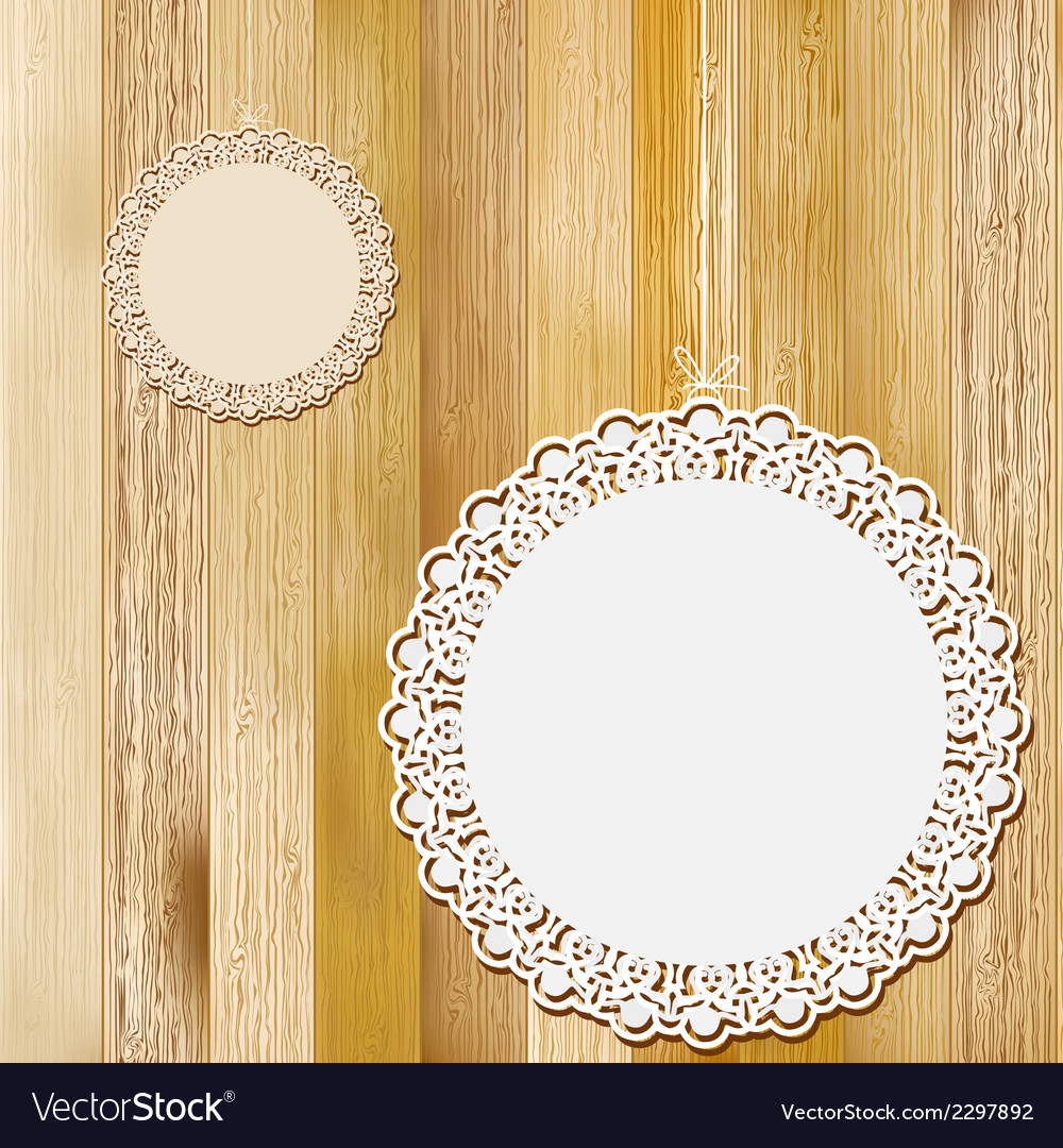 Lace frame on wooden background  eps8 vector | Price: 1 Credit (USD $1)