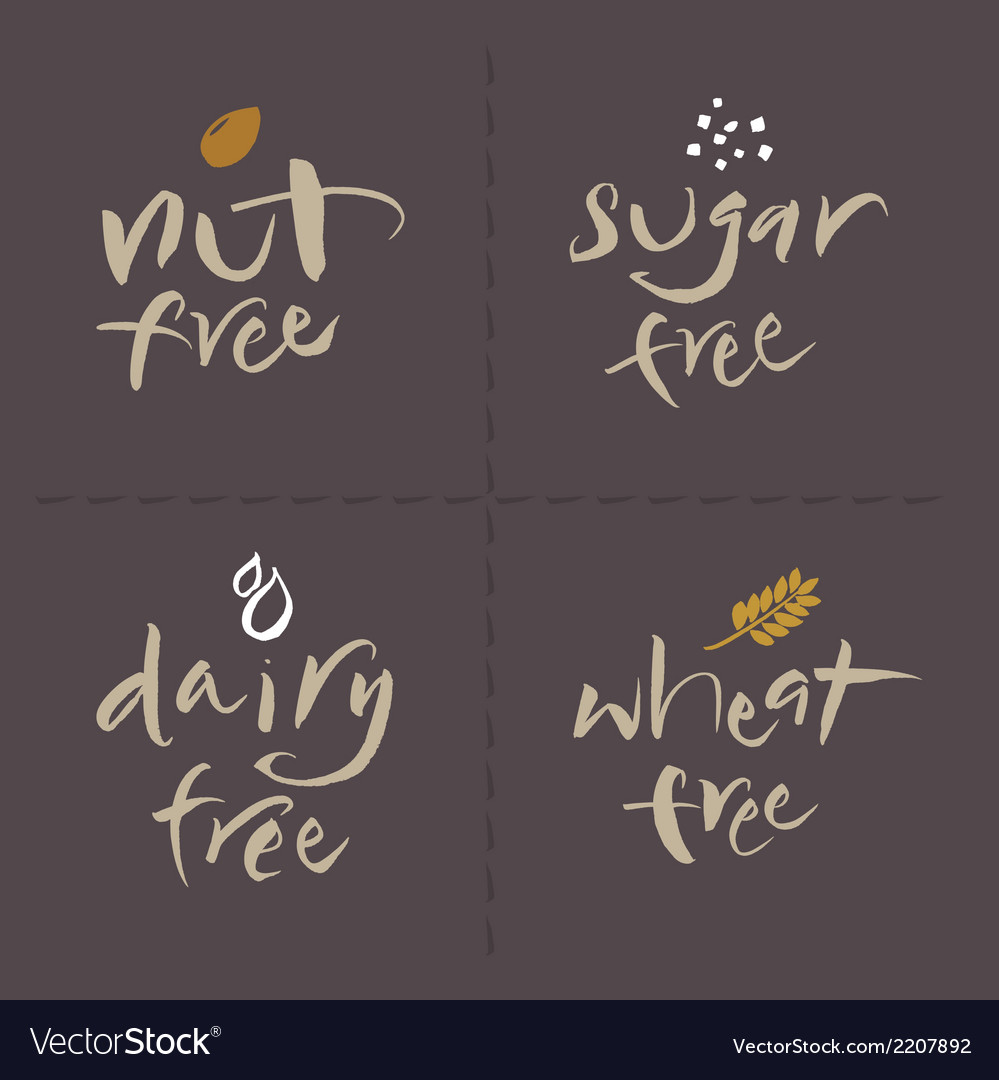 Nut sugar dairy wheat food labels vector | Price: 1 Credit (USD $1)