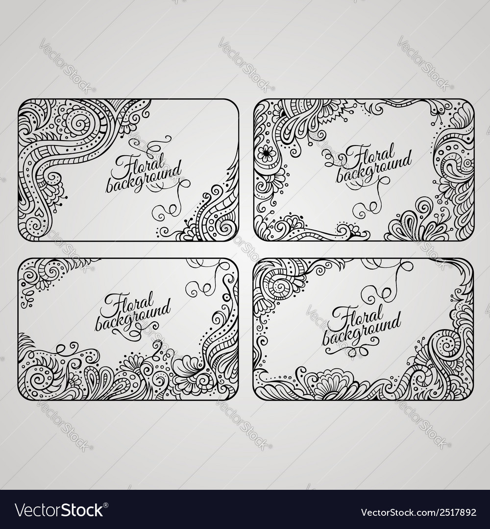 Set of four floral decorative frames vector | Price: 1 Credit (USD $1)