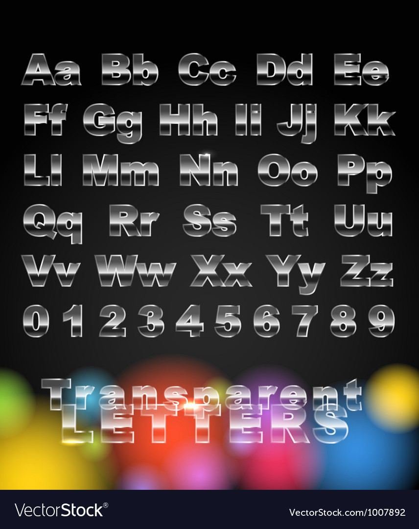 Transparent glass letters and digits vector | Price: 1 Credit (USD $1)