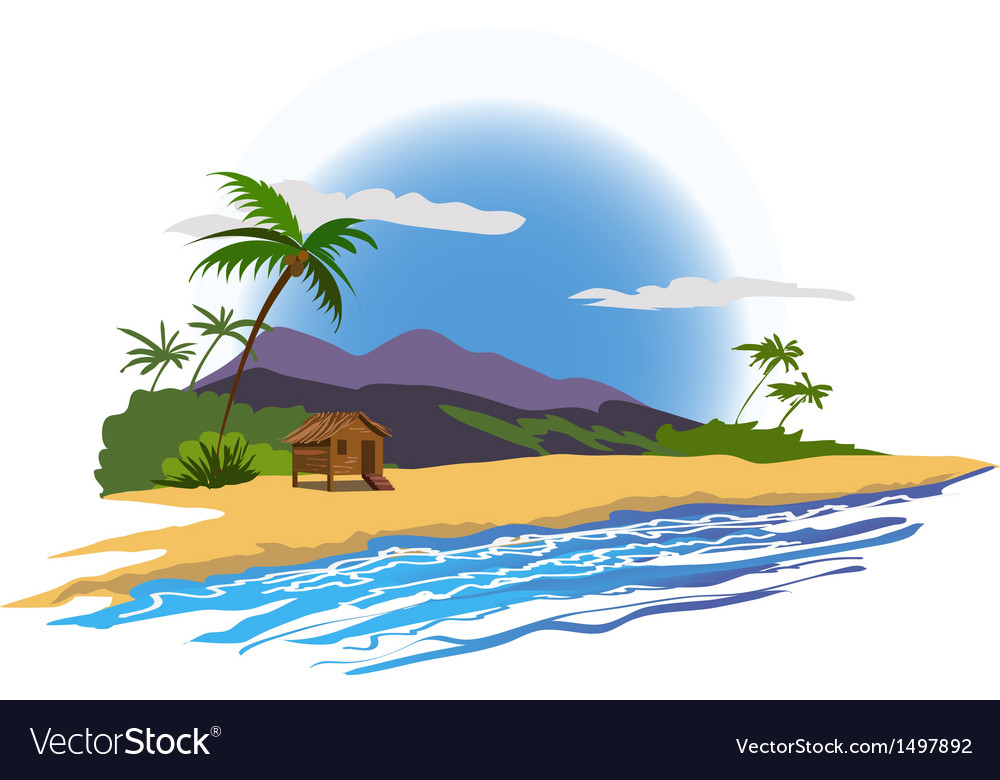 Tropical beach with house vector | Price: 1 Credit (USD $1)