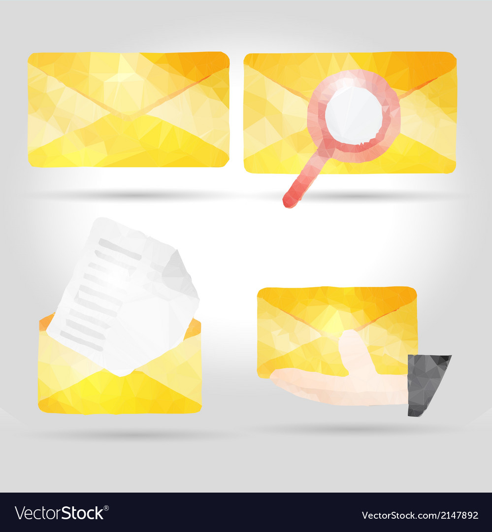 Yellow envelope in polygon crumpled paper vector | Price: 1 Credit (USD $1)