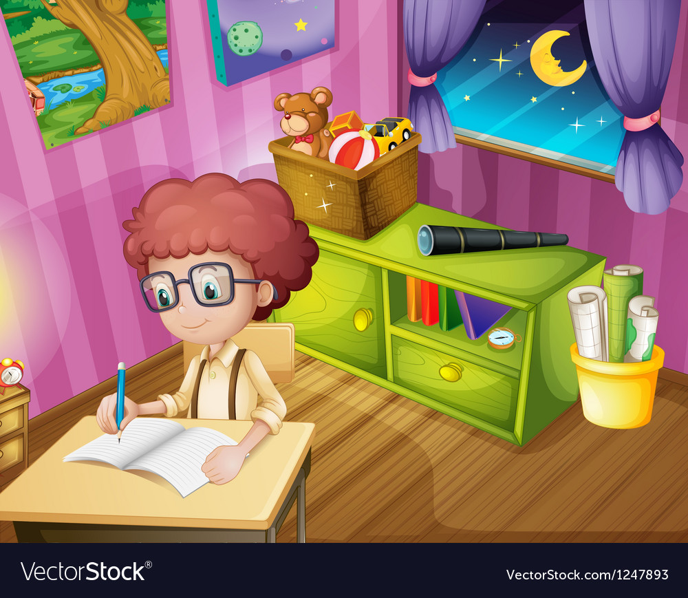 A boy writing inside his room vector | Price: 1 Credit (USD $1)