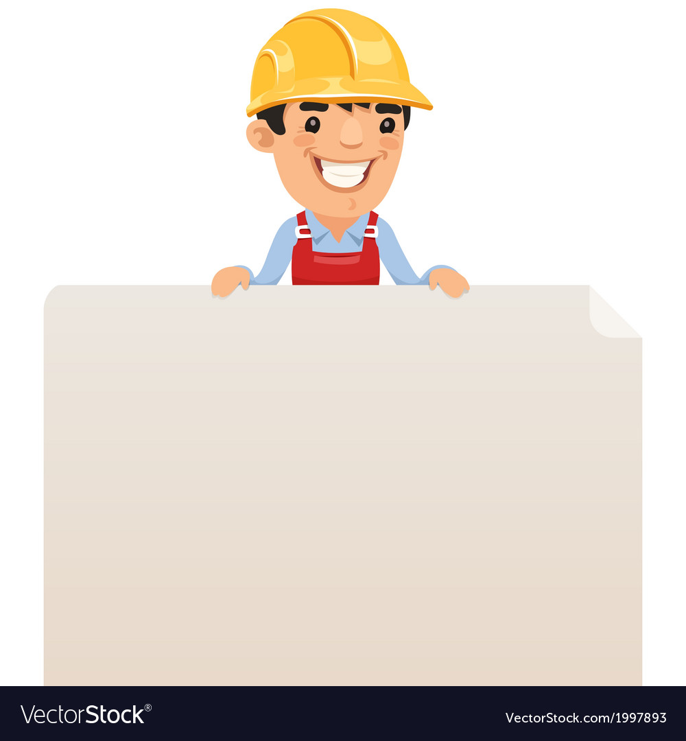 Builder looking at blank poster on top vector | Price: 1 Credit (USD $1)