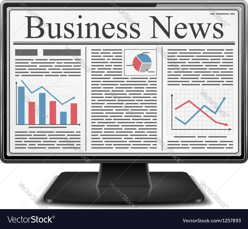 Business news in computer vector | Price: 1 Credit (USD $1)