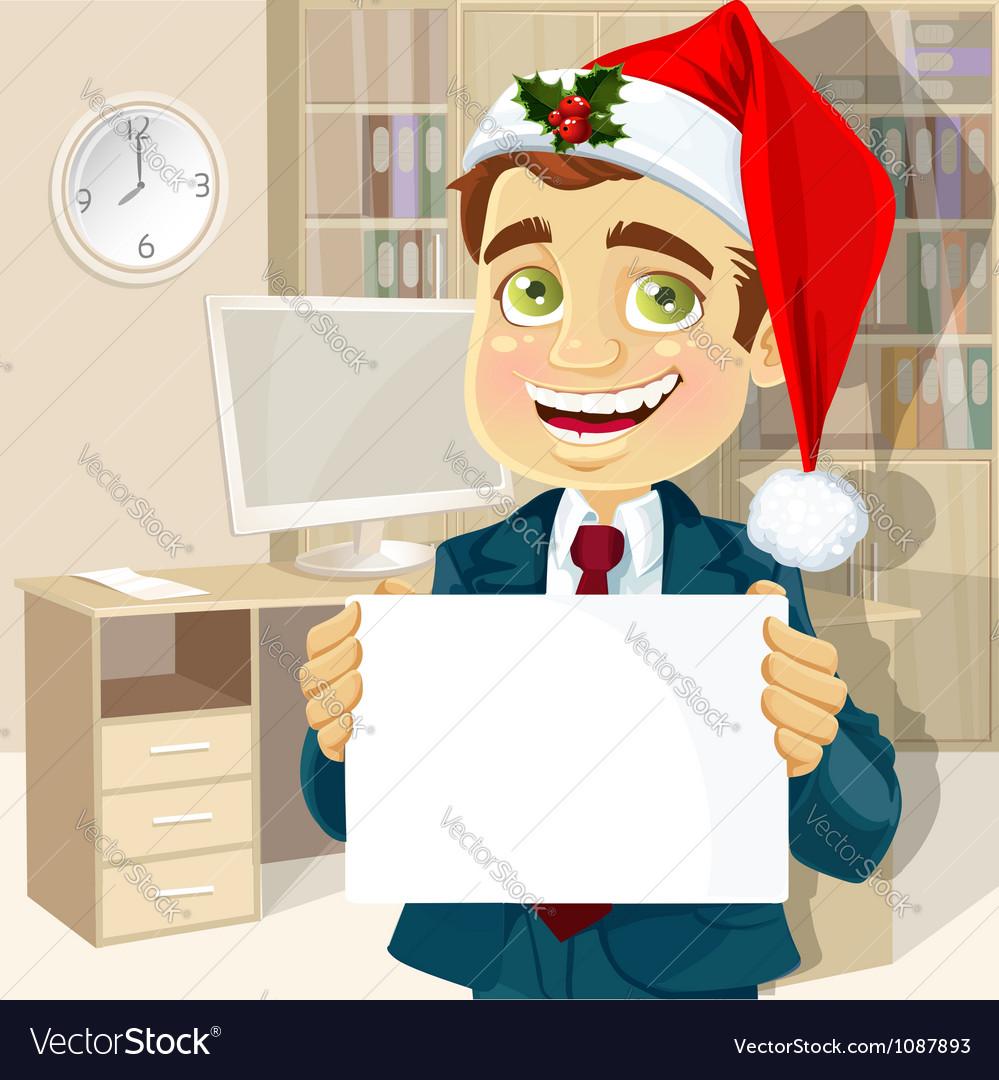 Businessman in santa claus cap vector | Price: 3 Credit (USD $3)