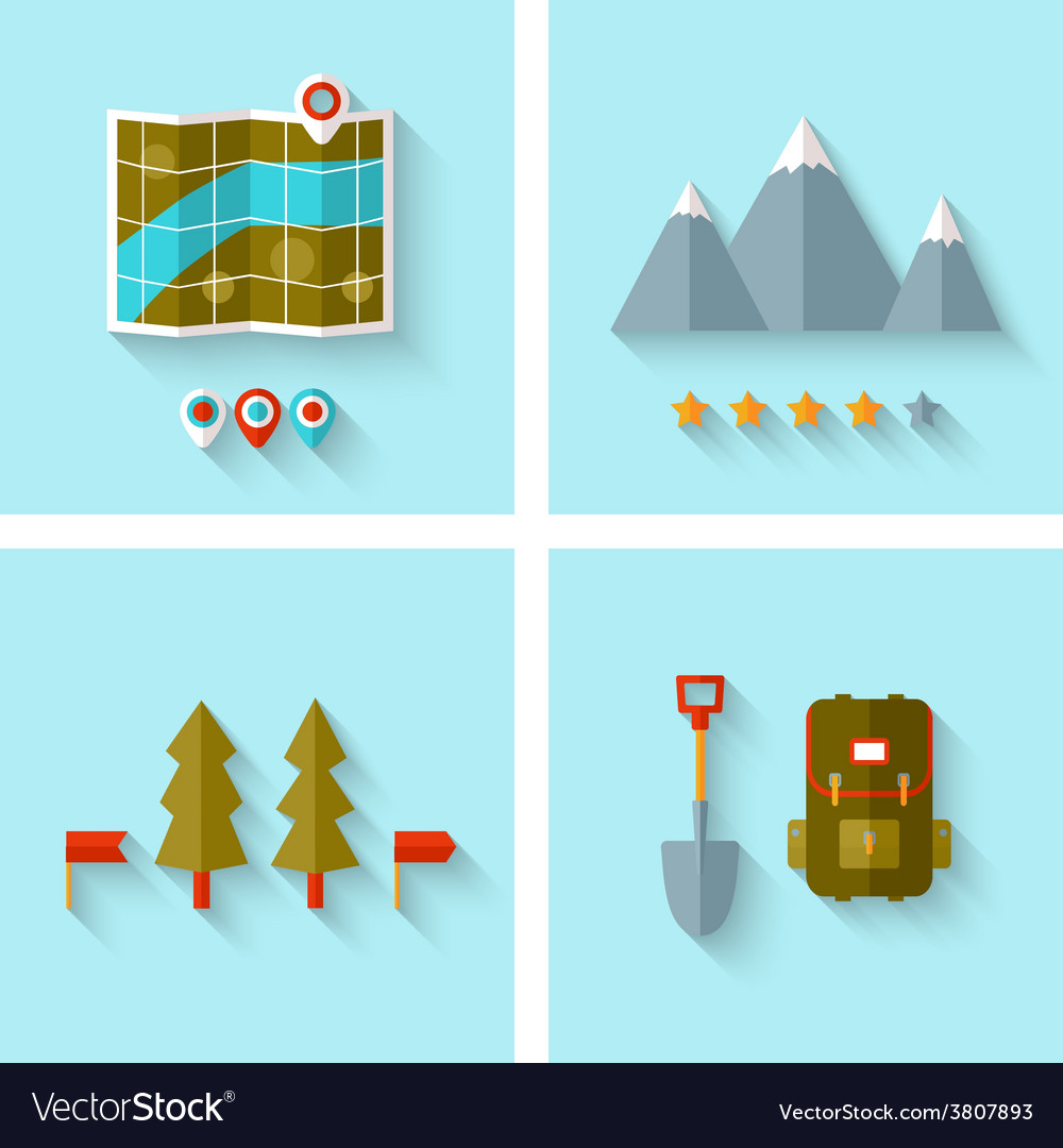 Camping adventure icons set flat design vector | Price: 1 Credit (USD $1)