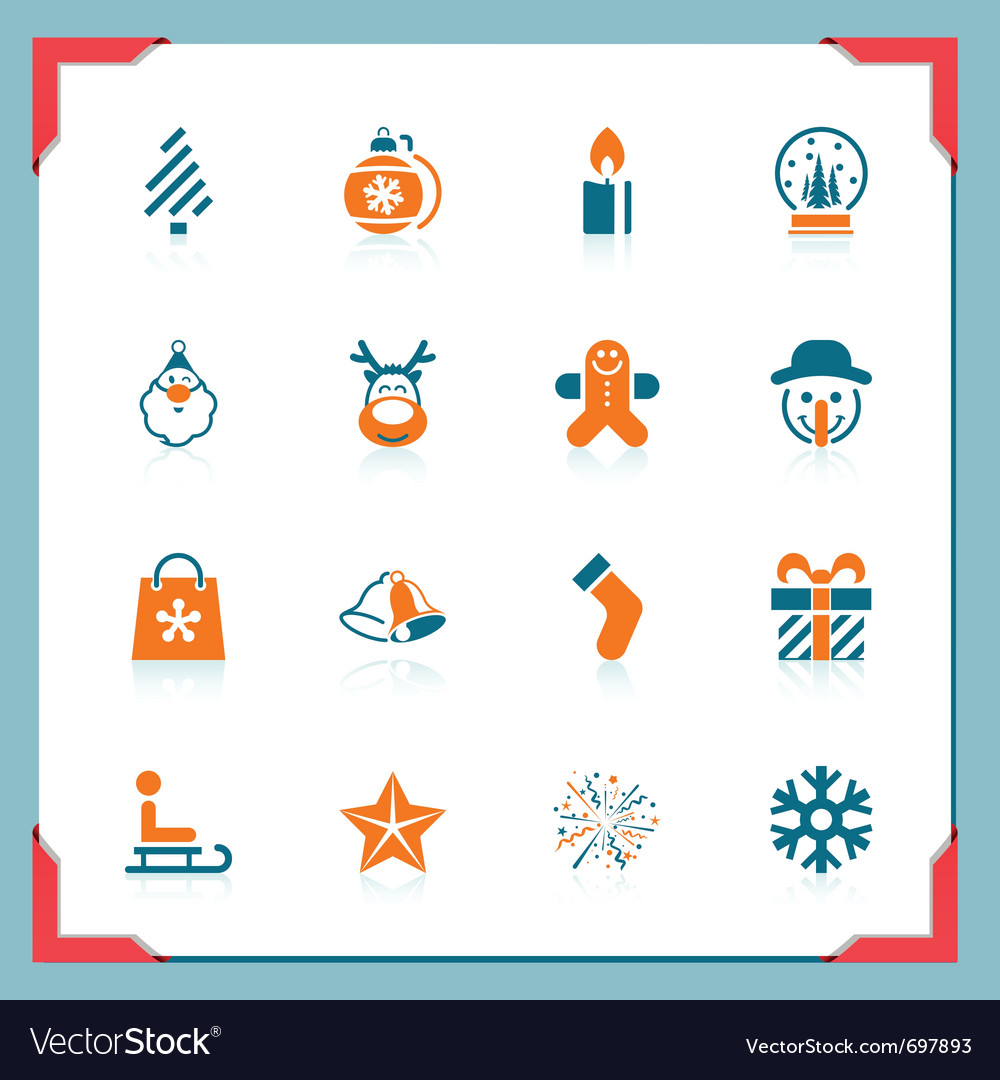 Christmas icons - in a frame series vector | Price: 1 Credit (USD $1)