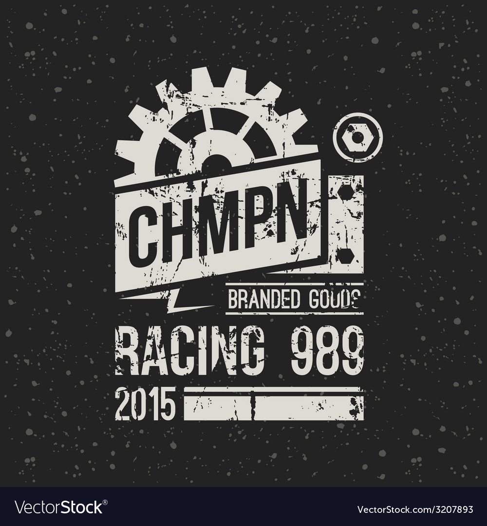 Emblem racing championship in retro style vector | Price: 1 Credit (USD $1)