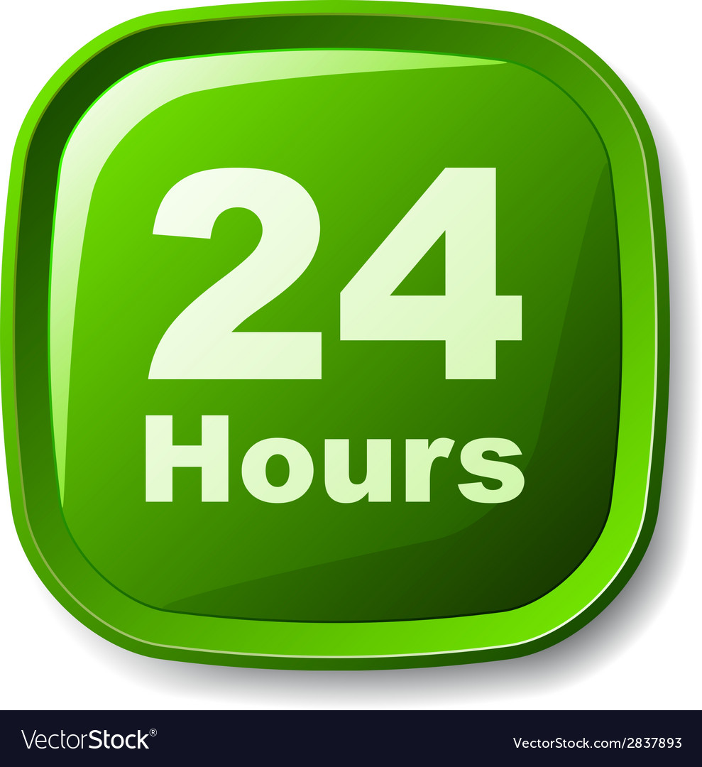 Green 24 hours button vector   Price: 1 Credit (USD $1)